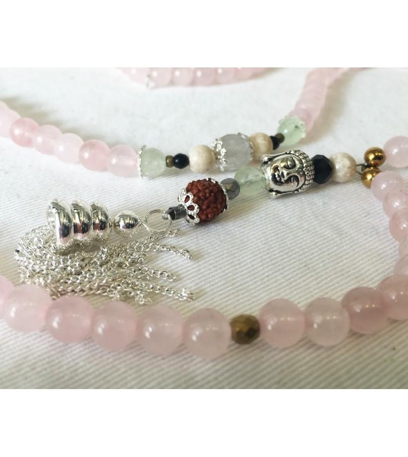 Mala 108 perles Quartz Rose